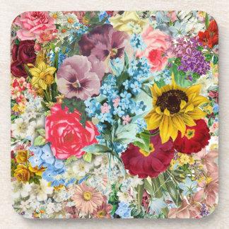 Vintage colorido floral posavasos de bebida