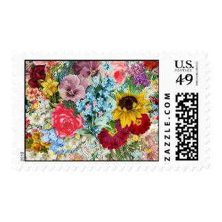 Vintage colorido floral franqueo
