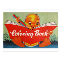 Vintage Coloring Book w/Chick Postcard