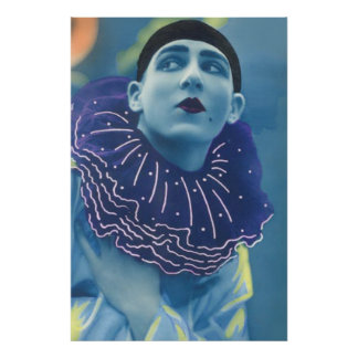 Vintage Colorized Photo of Opera Clown in Blue Poster