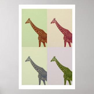 Vintage Colors Giraffes Poster