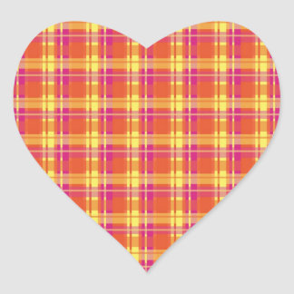 Vintage Colors Plaid Heart Sticker