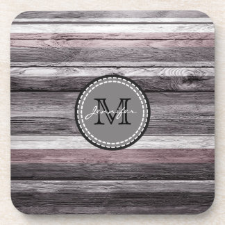 Vintage Colors Wood Look Monogram Coaster