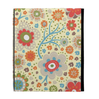 Vintage colourful floral pattern iPad cases