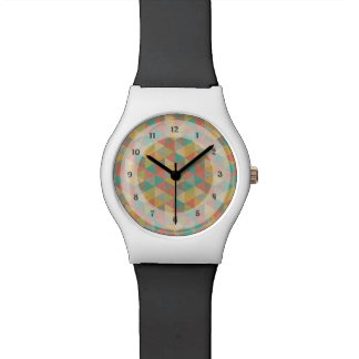 Vintage Colourful Geometric Triangles, for Teens Wristwatch