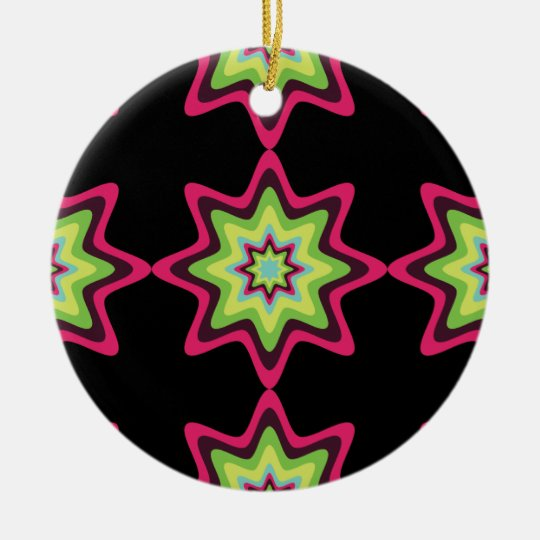 Vintage colourful stars ceramic ornament