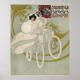 Vintage Columbia Bicycle Ad Art Poster Girl