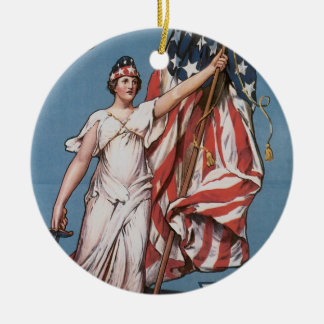 Vintage Columbia Calls Army Recruiting Double-Sided Ceramic Round Christmas Ornament