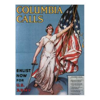 Vintage Columbia Calls Army Recruiting Postcard