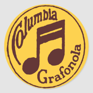 Vintage Columbia Grafonola Music Note Classic Round Sticker