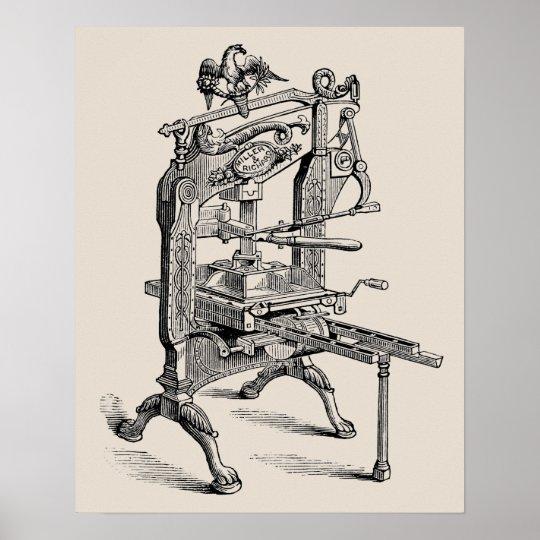 Vintage Columbian letterpress hand press poster
