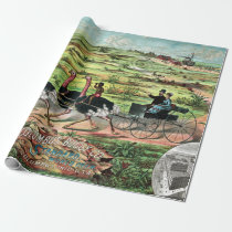 Vintage Columbus Buggy Company Australian Ostrich Wrapping Paper