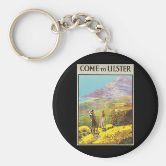 Vintage Come to Ulster British Isles Travel Poster Keychain