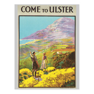 Vintage Come to Ulster British Isles Travel Poster Postcard