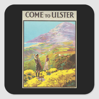 Vintage Come to Ulster British Isles Travel Poster Square Sticker