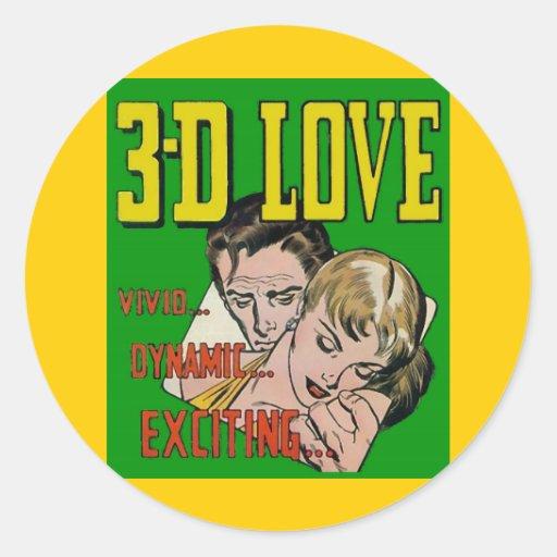 Vintage Comic Book Art - 3D LOVE Sticker
