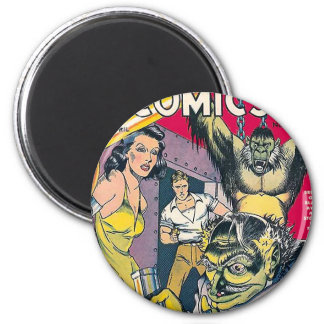 Vintage Comic Book Cover Art 2 Inch Round Magnet