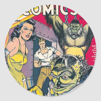 Vintage Comic Book Cover Art Round Stickers