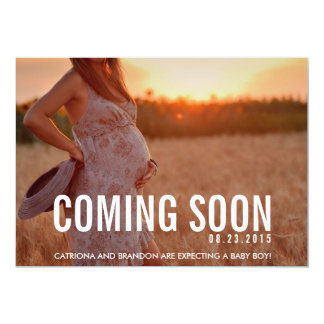 "Vintage Coming Soon Photo Pregnancy Announcement 5"" X 7"" Invitation Card"