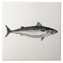 Vintage Common Mackerel Fish - Aquatic Template Tile