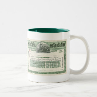 Vintage Common Stock Certificate, Business Finance Two-Tone Coffee Mug