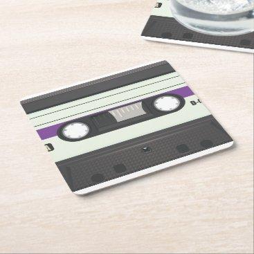 bartonleclaydesign Vintage Compact Cassette tape Square Paper Coaster