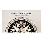 Vintage Compass Beige Linen Look Finance Business Card