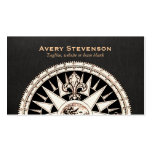 Vintage Compass Black Linen Look Finance Double-Sided Standard Business Cards (Pack Of 100)