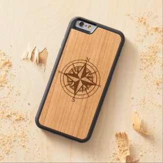 Vintage Compass Carved Cherry iPhone 6 Bumper Case