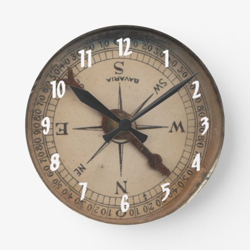 Vintage Compass Wall Decor : Vintage compass decorative wall clock zazzle