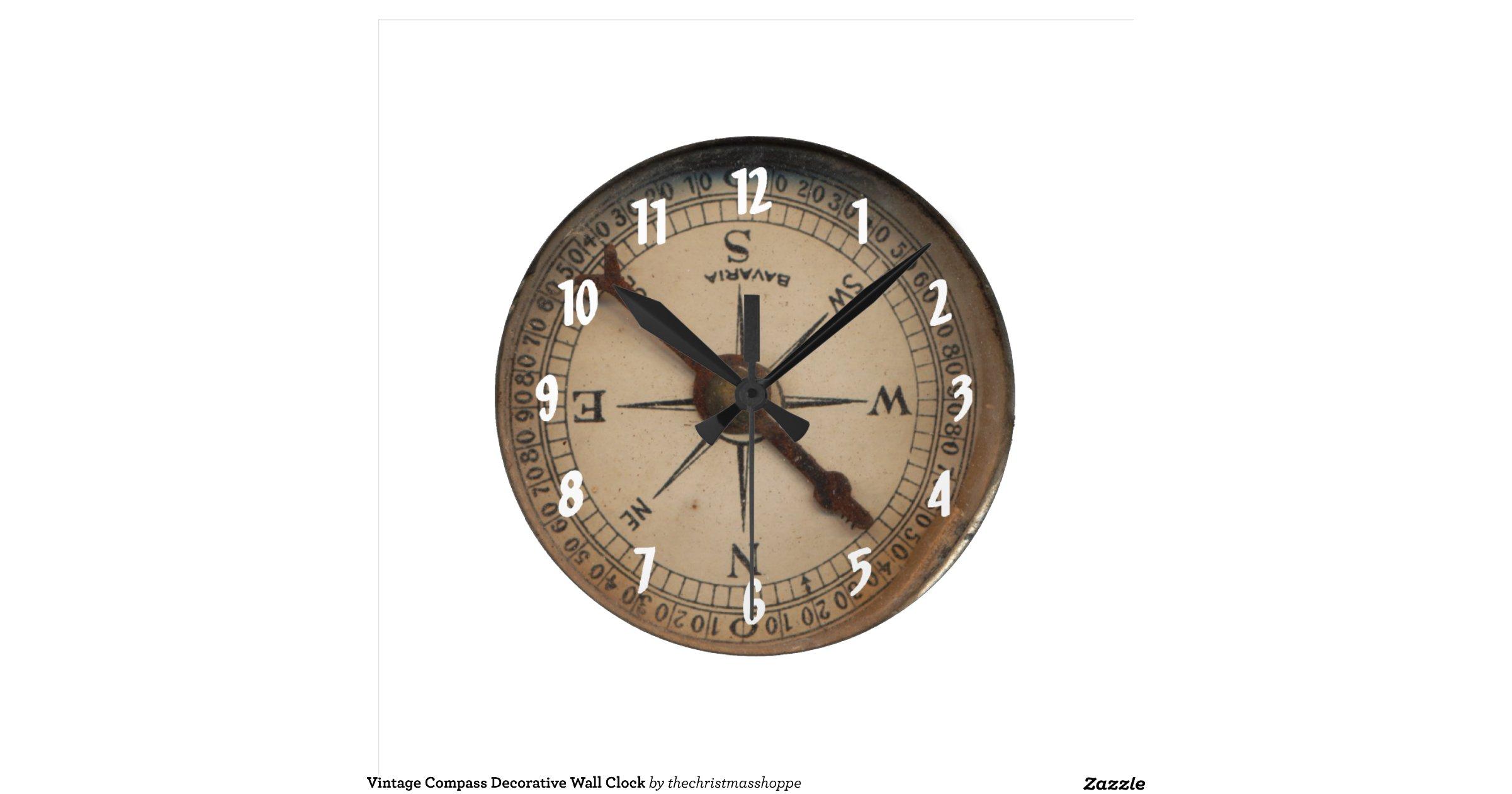 Decorative Wall Clock Model : Vintage compass decorative wall clock