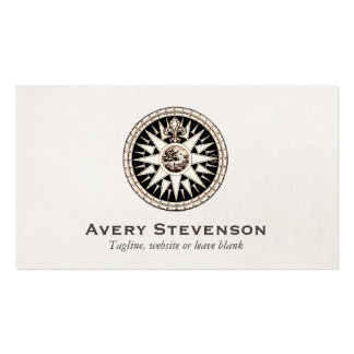 Vintage Compass Logo Professional Linen Look Double-Sided Standard Business Cards (Pack Of 100)