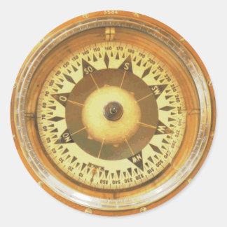 Vintage Compass Marine Round Stickers