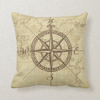 Vintage Compass - Polyester Throw Pillow