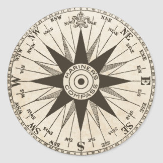 Vintage Compass Rose Classic Round Sticker