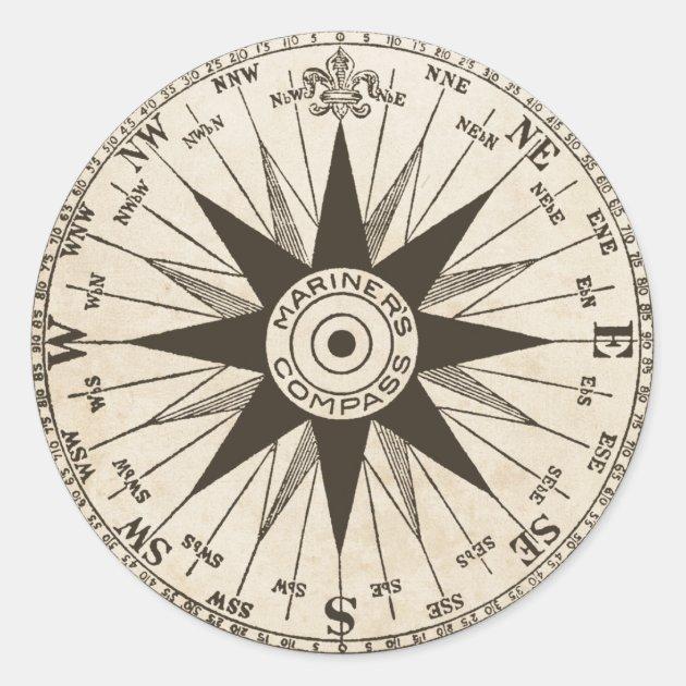 Vintage Compass Rose Classic Round Sticker | Zazzle