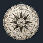 "Vintage Compass Rose Dartboard With Darts<br><div class=""desc"">A vintage compass rose in sepia on a parchment toned antiqued background. Center reads &quot;mariner&#39;s compass.&quot;  Keep score around the compass directions.  . Fantastic gift for a travel agent,  ship captain or world traveler.</div>"