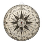 Vintage Compass Rose Dartboard With Darts<br><div class='desc'>A vintage compass rose in sepia on a parchment toned antiqued background. Center reads &quot;mariner&#39;s compass.&quot;  Keep score around the compass directions.  . Fantastic gift for a travel agent,  ship captain or world traveler.</div>