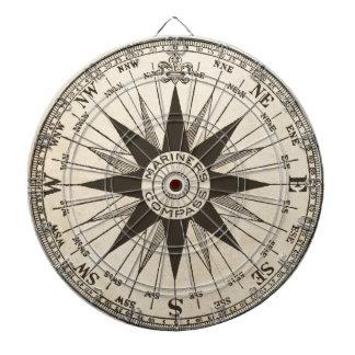 Vintage Compass Rose Dartboard With Darts