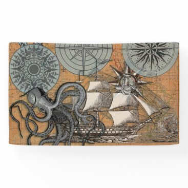 Beach Themed Vintage Compass Rose Octopus Art Print Drawing Banner