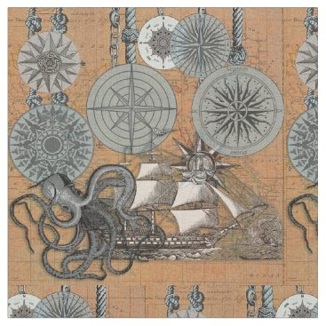 Beach Themed Vintage Compass Rose Octopus Art Print Drawing Fabric