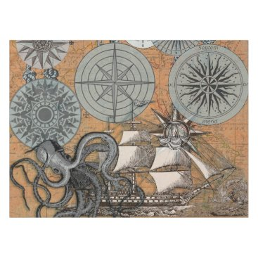 Beach Themed Vintage Compass Rose Octopus Art Print Drawing Tablecloth