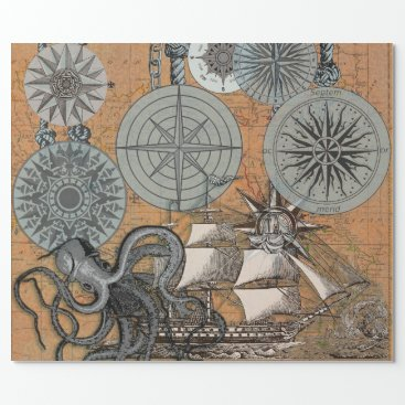 Beach Themed Vintage Compass Rose Octopus Art Print Drawing Wrapping Paper