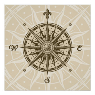 Vintage Compass Rose Poster