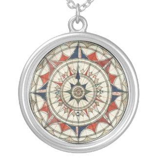Vintage Compass Rose Round Pendant Necklace