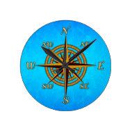 Vintage Compass Rose Round Wallclock