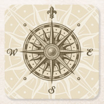 Vintage Compass Rose Square Paper Coaster