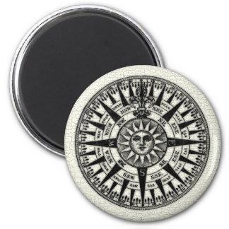 Vintage Compass Rose Sun 2 Inch Round Magnet