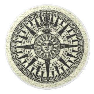 Vintage Compass Rose Sun Ceramic Knob