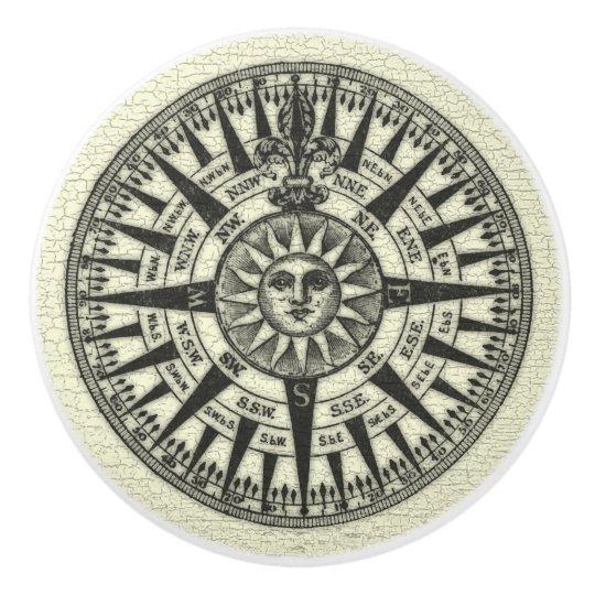 Vintage Compass Rose Sun Ceramic Knob Zazzle Com
